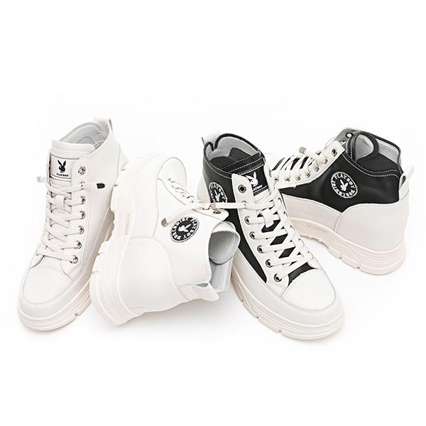 PLAYBOY內增高 真皮短靴-白黑/白(Y6803)
