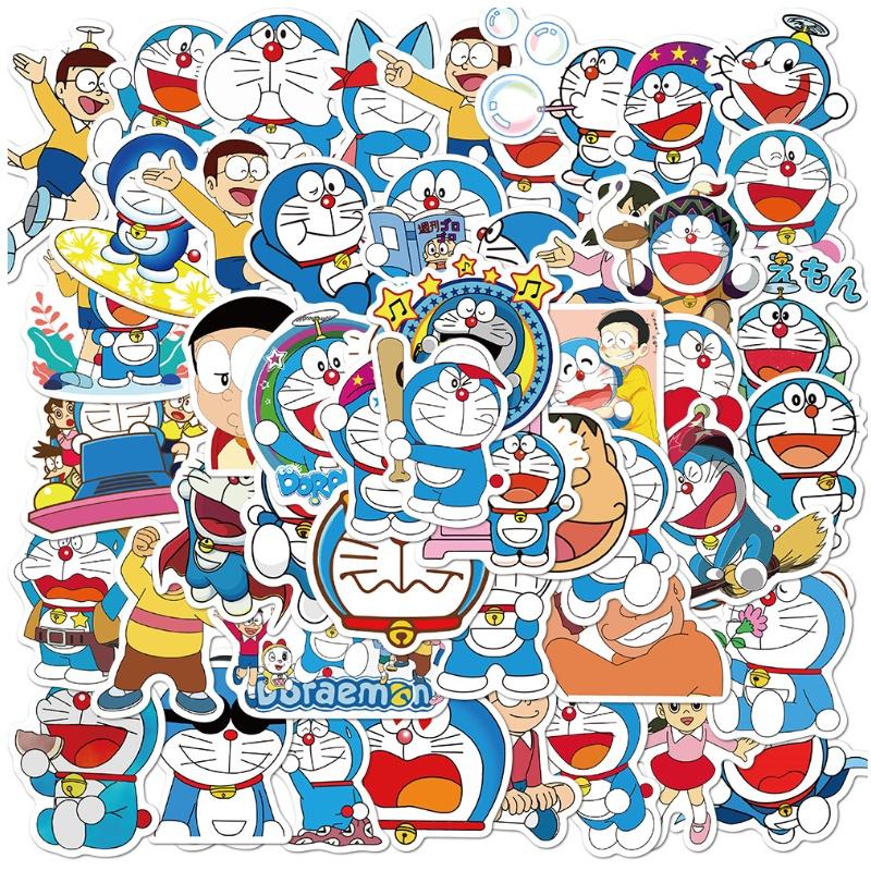 50張可愛哆啦A夢塗鴉貼紙水杯頭盔行李箱筆電防水可移貼紙