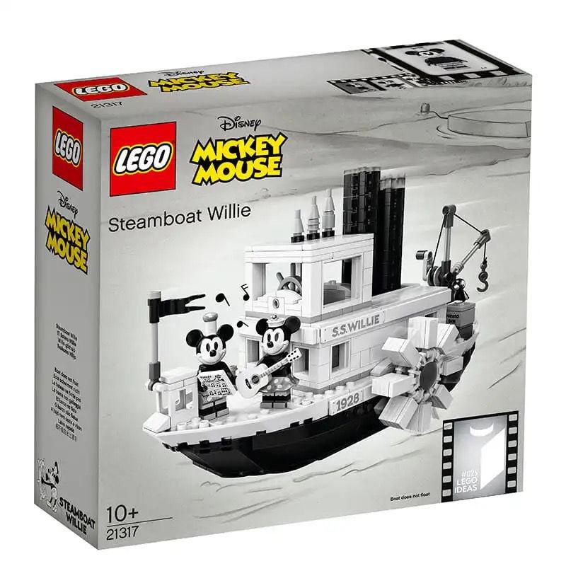 爆款LEGO樂高創意Ideas系列21317迪士尼米奇汽船威利拼裝積木玩具