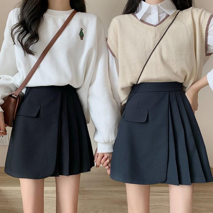 【免運】新款韓版高腰顯瘦百褶設計感不規則A字裙短裙女 閨蜜裝