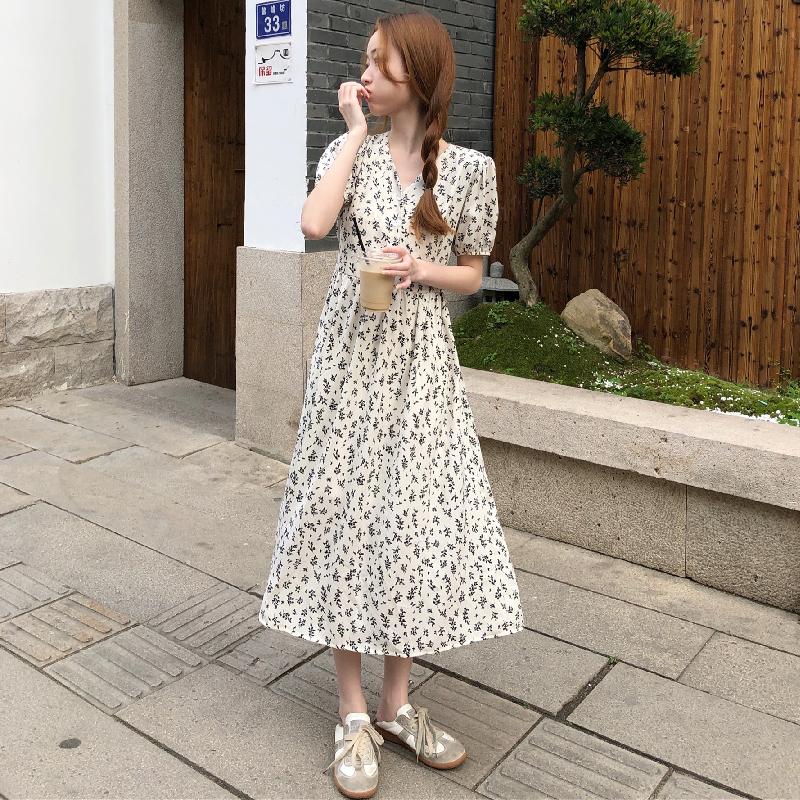 M-4XL大尺碼衣著 2021夏季新款復古氣質法式雪紡碎花長款短袖短袖洋裝 連衣裙女