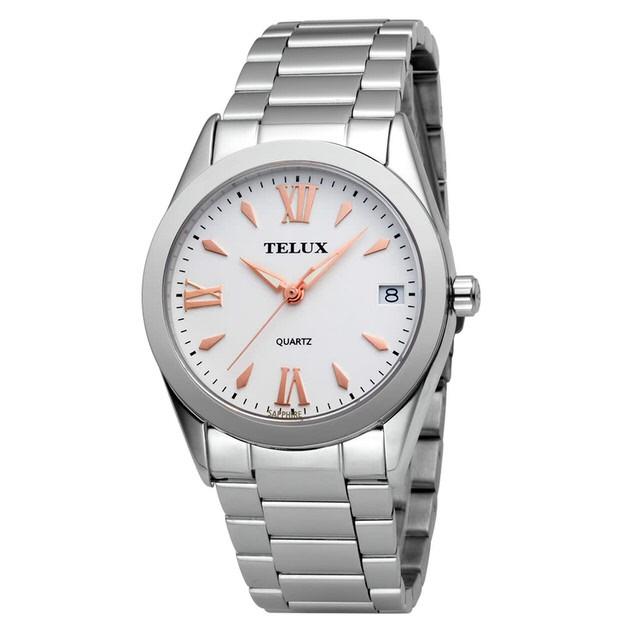 台灣品牌手錶腕錶【TELUX鐵力士】暮光系列女腕錶手錶34MM台灣製造石英錶7002LW-W15鋼帶白面玫瑰釘
