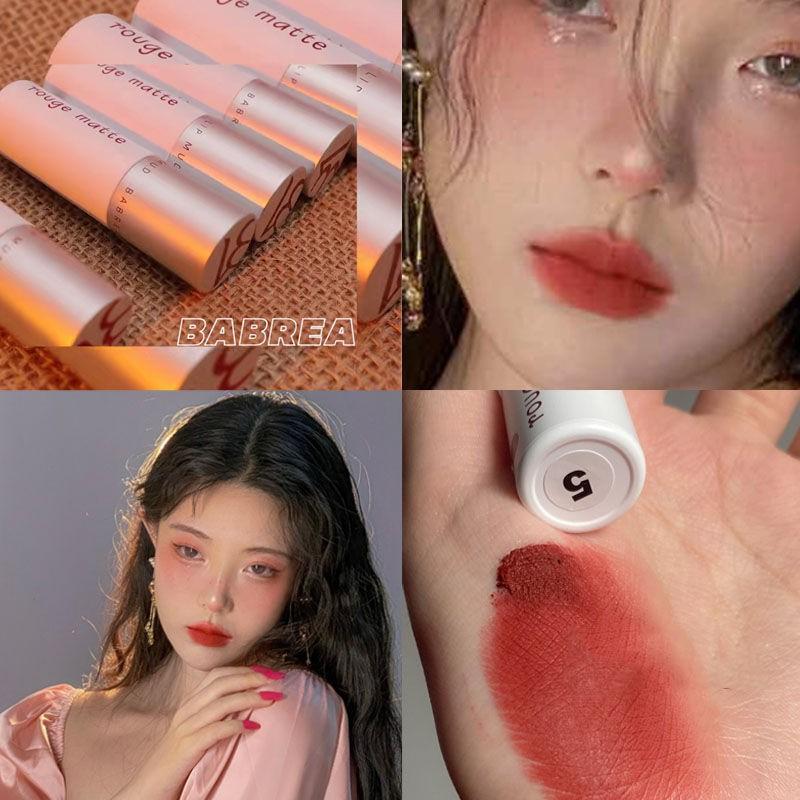 【快速出貨】芭貝拉唇泥口紅501小眾品牌素顏吃土色正紅奶油杏學生平價巴貝拉