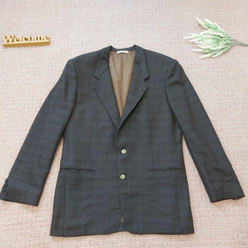 古著西裝 PIERRE BALMAIN 男 深藍深咖啡格紋 羊毛 西裝外套 格紋西裝外套 古著西裝外套 m