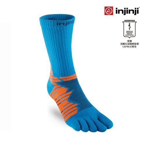 【INJINJI】Ultra Run五趾中筒襪 [藍橘] 避震吸排運動襪│ IN181NAA6753
