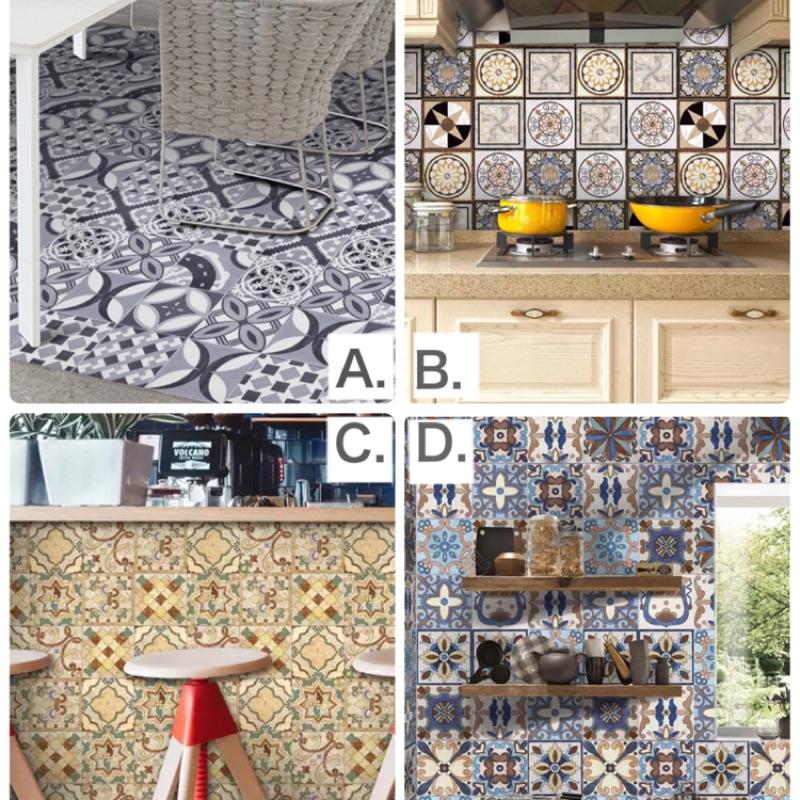 現貨📍限時特價‼️現代古典風格花磚 壁貼 踢腳板 自黏花磚貼 花磚壁貼