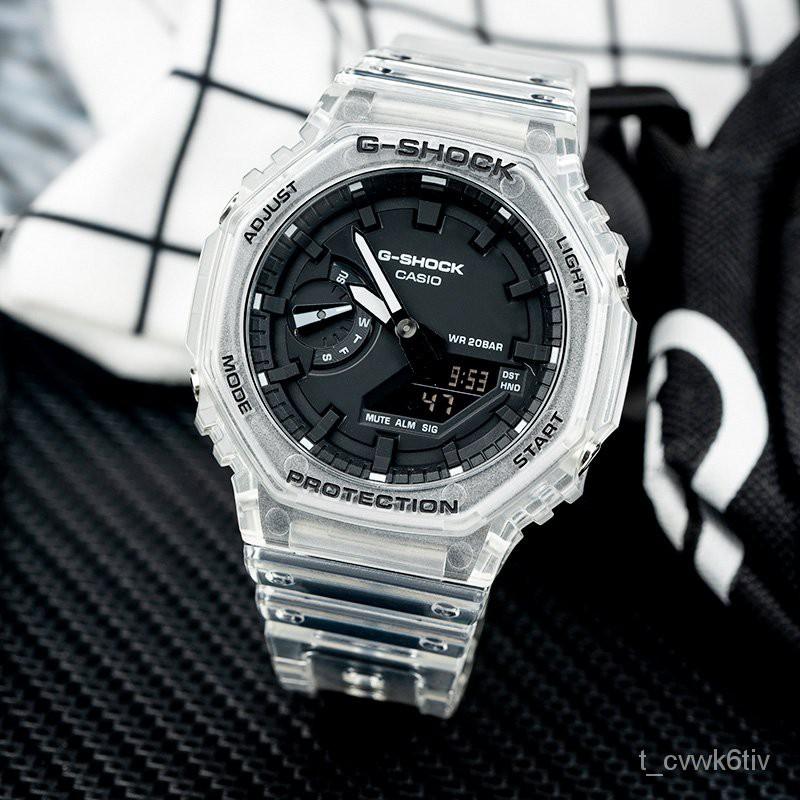 卡西歐農家橡樹 手錶男八角透明冰韌系列運動防水錶GA-2100SKE-7A hdcc