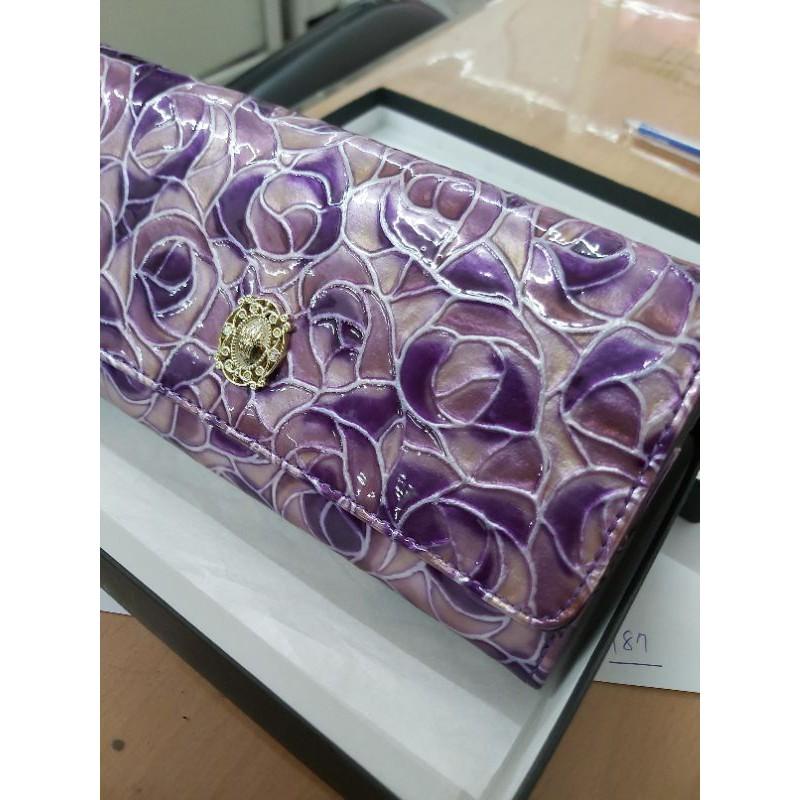 ANNA SUI 正版 紫色 玫瑰花紋 皮夾 長夾