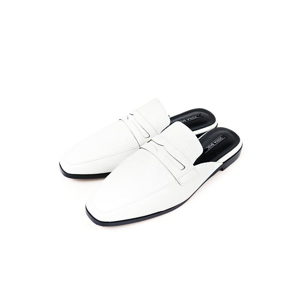 Viina 高質感鱷魚皮穆勒拖鞋-白