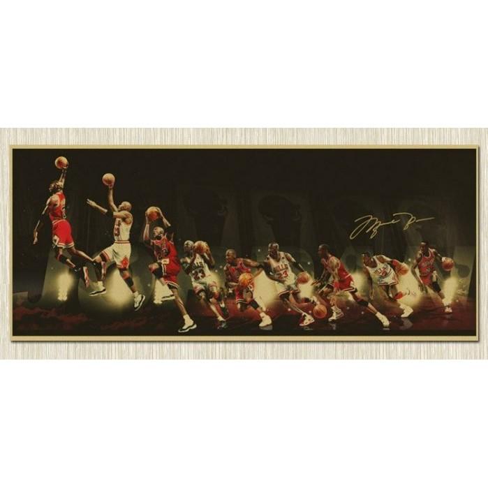 限時特價 JoRDAN NBA 喬登 公牛 大張橫版 籃球 懷舊復古 牛皮紙 海報 壁貼