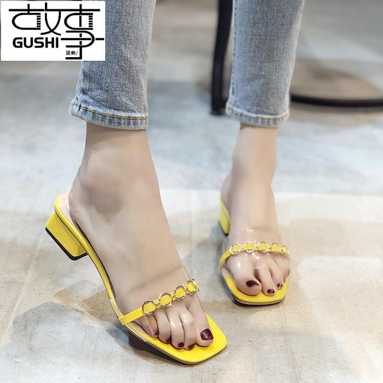 涼拖鞋 透明涼鞋 韓版中跟粗跟涼鞋 露趾涼鞋 簡約氣質涼鞋