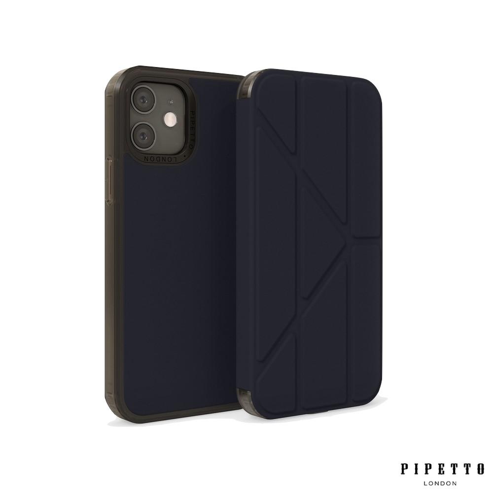 Pipetto Origami Folio iPhone 12 /12 Pro 6.1吋 多角度折疊皮套 - 海軍藍
