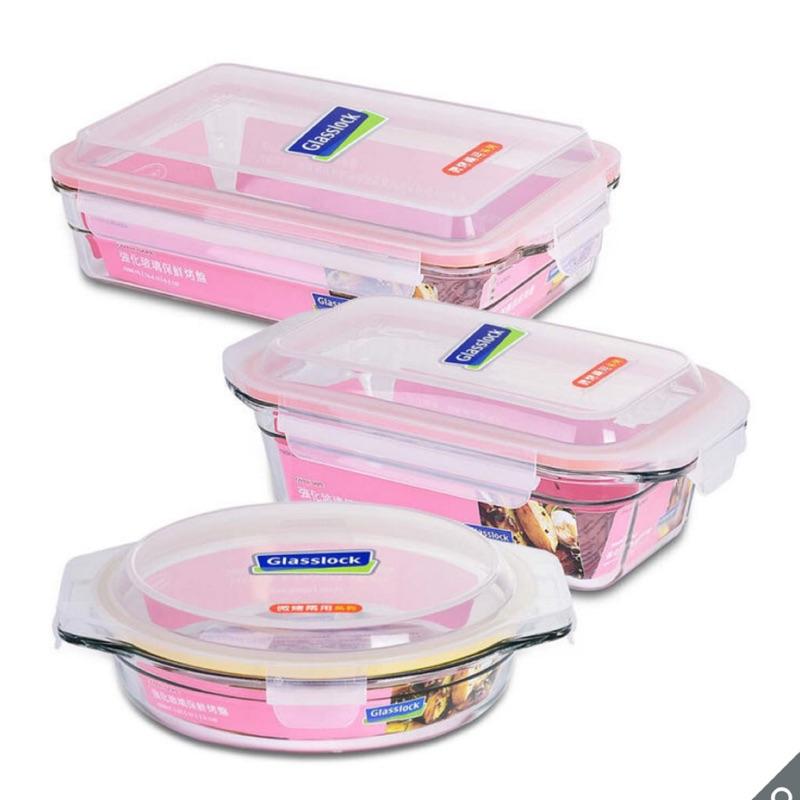 (宅配免運)玻璃保鮮盒(3件組)Glasslock 玻璃烤盤含蓋 保鮮碗 餐盒 便當盒 環保 不塑 好市多代購