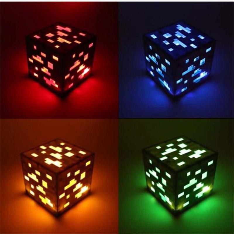 Minecraft紅石小夜燈礦石藍寶石鑽石方形小夜燈AA電池電源LED兒童玩具禮物照明