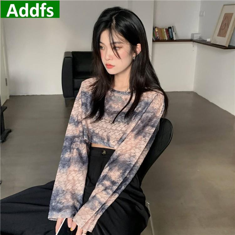 T恤 女生 tshirt ins韓國時尚chic百搭短款個性紮染圓領長袖T恤 女t