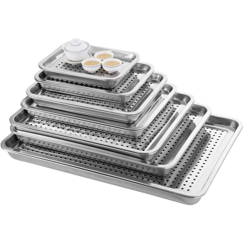 茶盤#功夫茶具加厚不銹鋼茶盤家用漏水盤非304托盤長方形雙層濾油瀝水盤子廚房