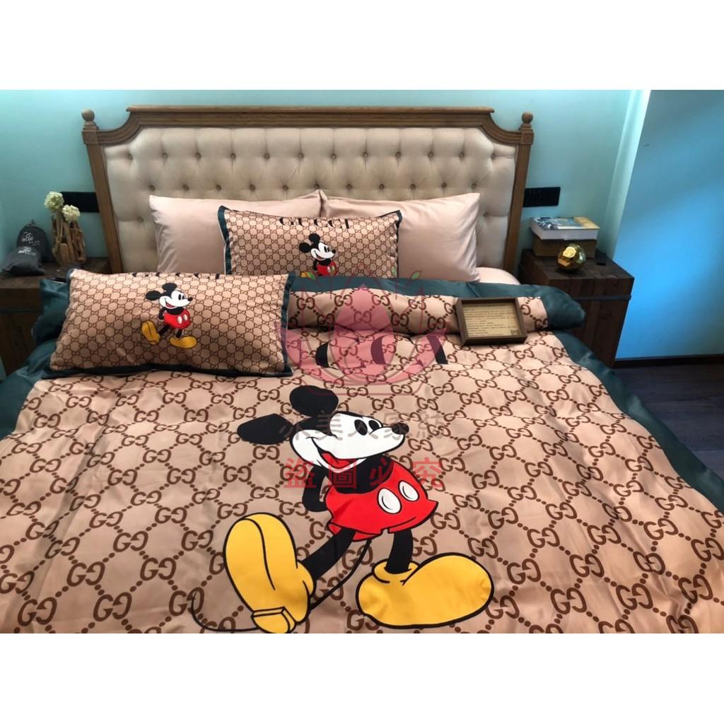 【現貨 速發】GUCCI 古馳 米奇 正宗涼感真絲 床包四件套 床包組 被套 床包 標準雙人組 加大組