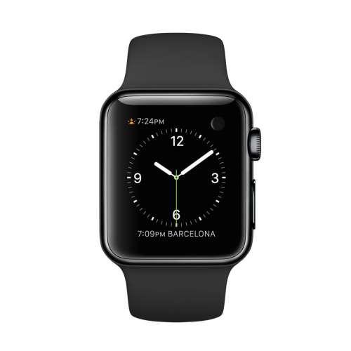 Apple Watch MLCK2TA/A 智慧型手錶,38公釐 太空灰不鏽鋼錶殼搭配黑色運動型錶帶_ 原廠公司貨