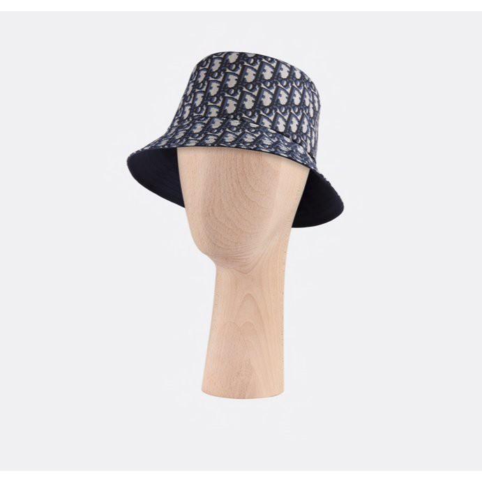 Dior老花雙面漁夫帽/深藍色