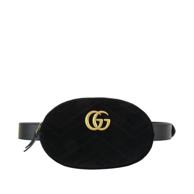 SGG Gucci Marmont 絲絨黑色腰包