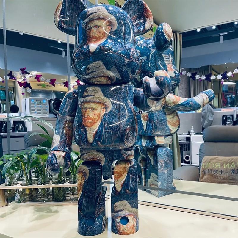 bearbrick400%暴力熊積木熊梵谷系列公仔手辦盲盒暴力熊精品模型 梵谷自畫像庫柏力克熊 潮流公仔 BB熊