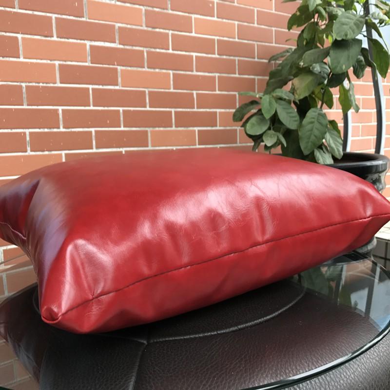 【新飾界】特惠高檔PU皮質沙發靠墊純色靠枕枕套辦公室抱枕汽車腰墊含芯