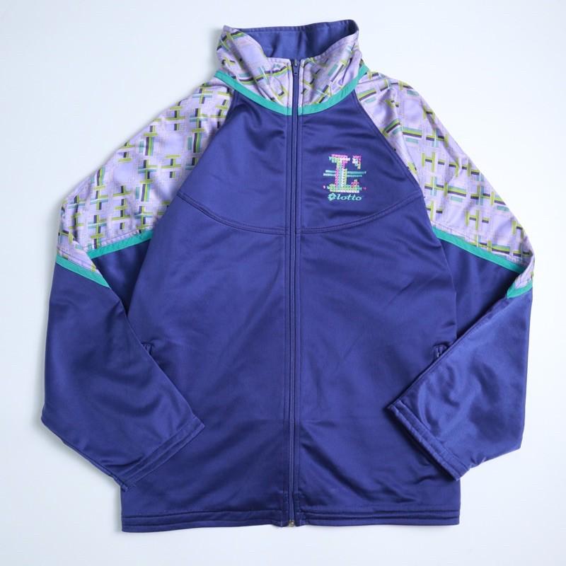 90s Vintage 古著 Lotto 紫色拼接幾何圖騰 運動外套 古著外套
