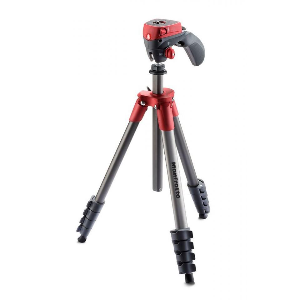 Manfrotto MKCOMPACTACN-RD 輕巧攝錄兩用三腳架 紅色 Compact 相機專家 正成公司貨