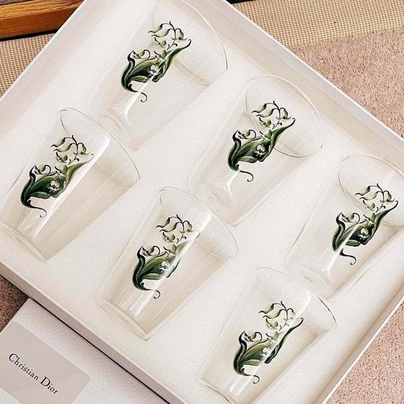DIOR 迪奧 水晶杯禮盒 藤格紋杯子 一盒3個款式 6個水晶玻璃杯 手工定制手繪鈴蘭花紋水晶杯 精緻大氣水晶杯