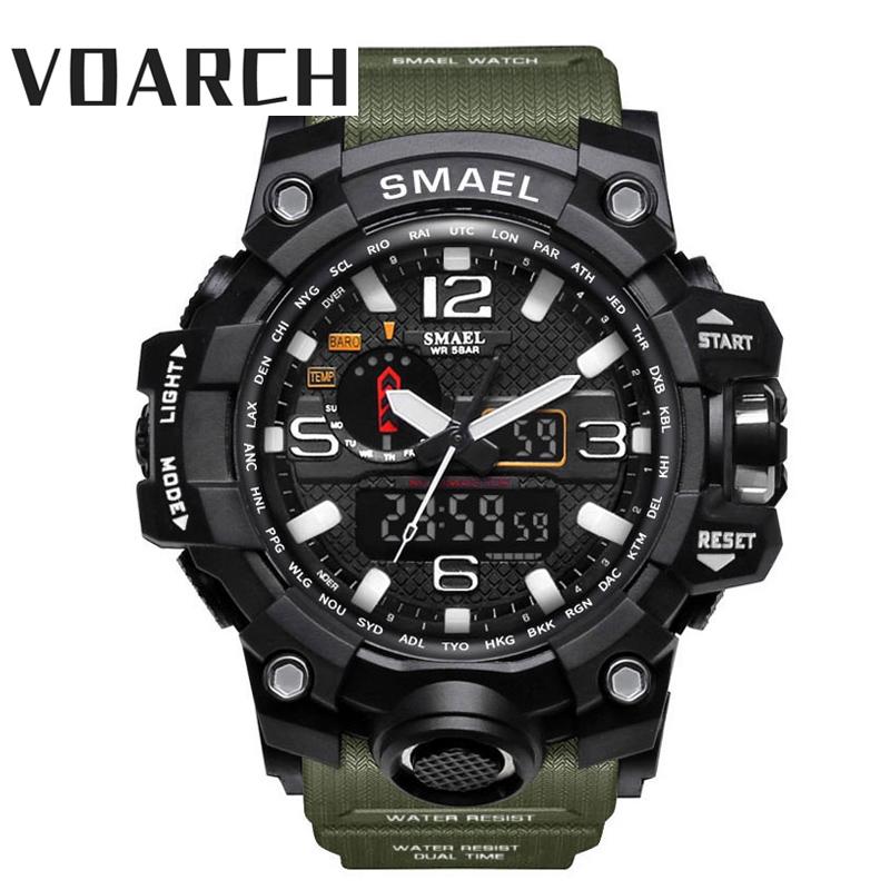 Voarch 男士軍事手錶 50m 防水手錶 Led 石英鐘運動手錶男運動手錶男士震動