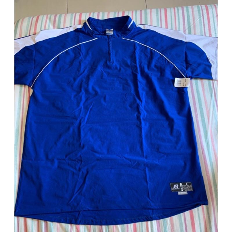 美國帶回(現貨)RUSSELL棒壘球短袖風衣 中華隊藍色L號(適合身高185cm/90公斤以上男生穿)