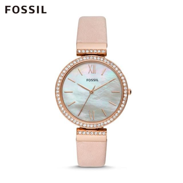 【FOSSIL】MADELINE 粉色珍珠貝面鑲鑽手錶 女ES4537 原廠公司貨2年保固