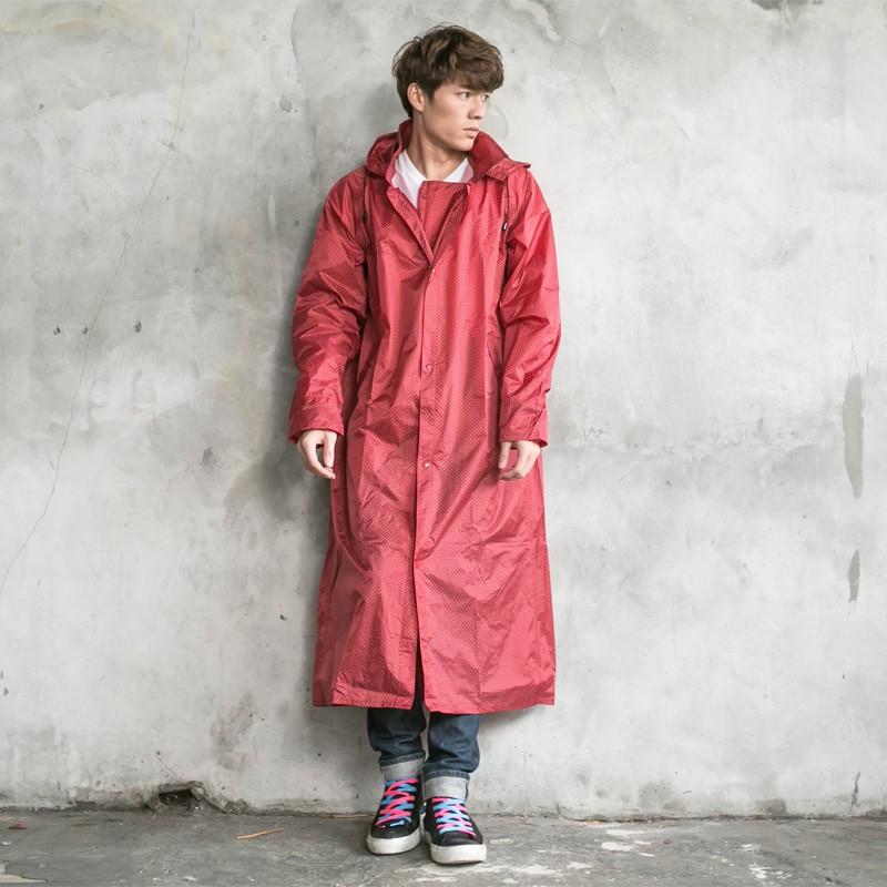 BrightDay印花前開連身式風雨衣-紅白點