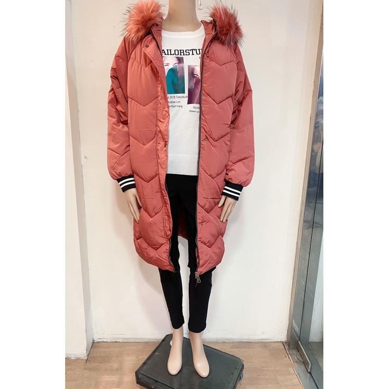 韓版時尚休閒保暖 寒流必備 超長版鋪棉 連帽拉鍊外套