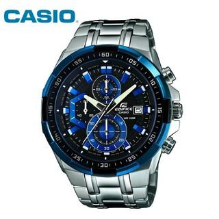 CASIO卡西歐手錶三眼計時賽車男錶精品男士手錶防水不鏽鋼錶帶男士鋼帶酷黑劍魚 錶盤石英腕錶
