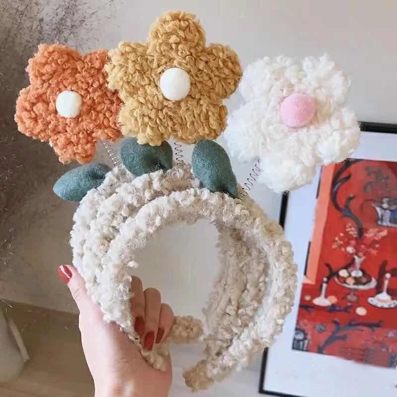 2021上新【头饰】创意毛线小花发箍可爱糖果色羊毛羔太阳花发箍卡通花朵洗脸头饰女