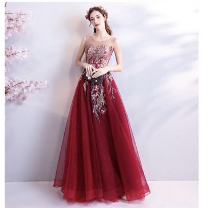 二手紅色輕婚紗 拍照禮服