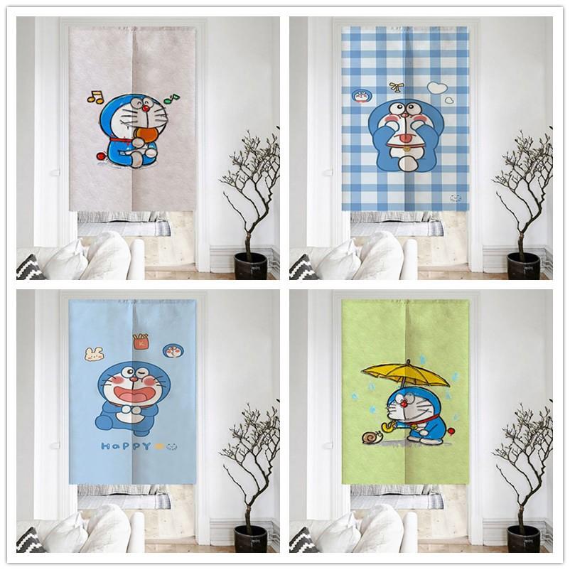 哆啦A夢系列門簾 藍胖子 機器貓   改善風水布簾 加厚棉麻布藝掛簾臥室洗手間隔斷