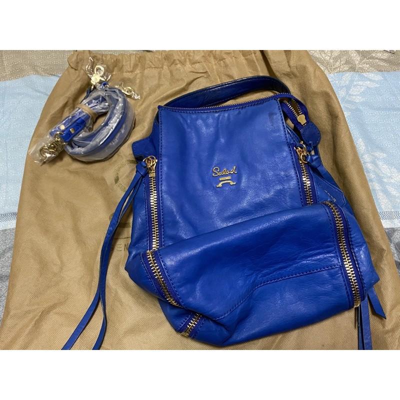 [二手] salad 經典寶藍色流蘇羊皮包 手提包 肩背包 後背包 三用包