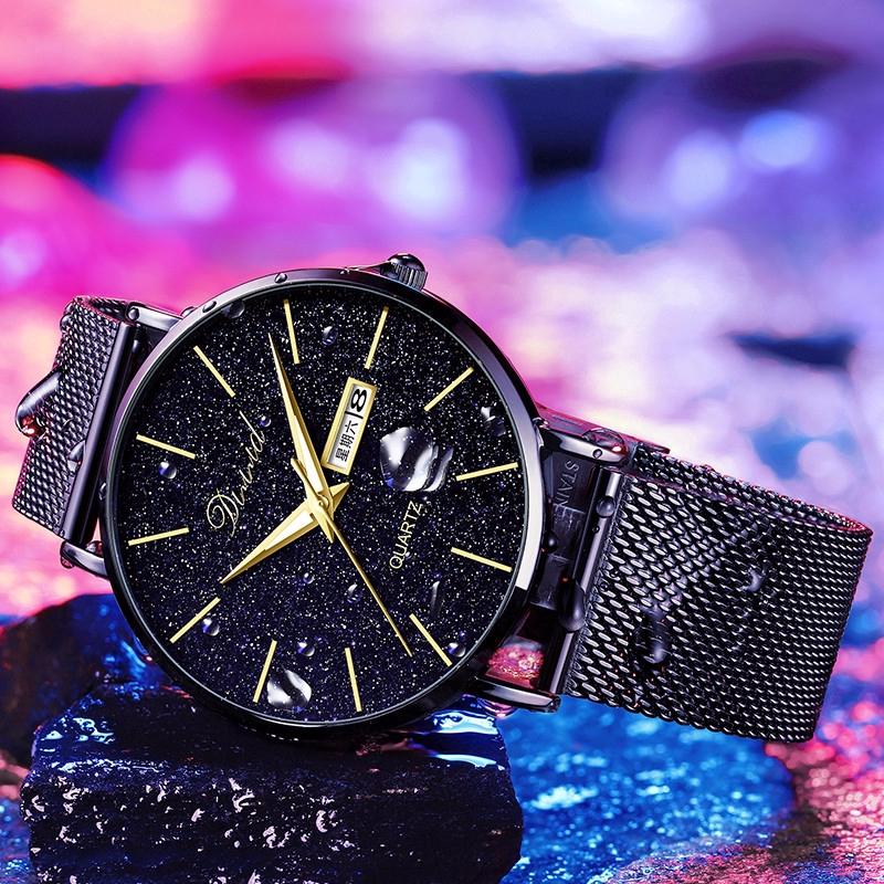 2020時尚蟲洞概念星空手錶男士防水手錶超薄石英手錶