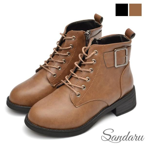短靴 率性方釦皮革粗跟靴【卡其色】三天出貨
