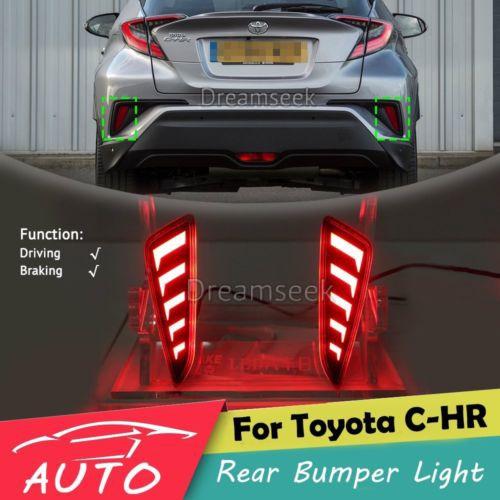LED汽車後保險杠尾燈 適用於 豐田 Toyota C-HR CHR 2016-2021款 行車燈 剎車燈改裝專用燈 V
