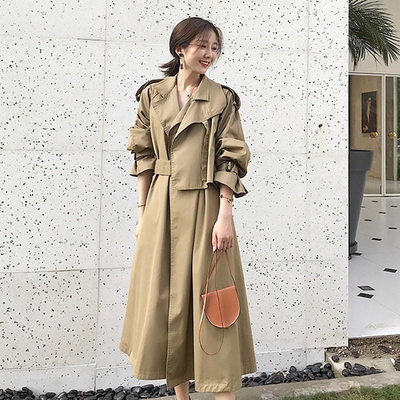 【KISSDIAMOND】英倫時尚學院風長版顯瘦風衣外套-KD-1911