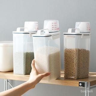【運損賠賞】手提米桶帶量杯 加厚廚房儲米箱 日式米桶 雜糧 量杯 儲米 儲米桶 密封防蟲防潮 麵粉雜糧儲物桶2.5L米罐
