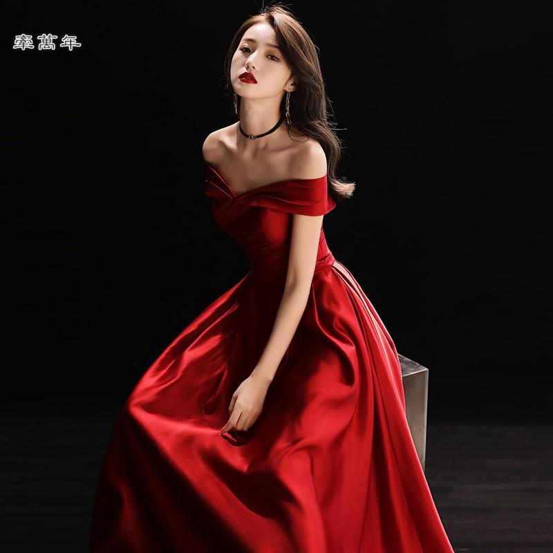 pengyuan 現貨🔥酒紅色 一字領 敬酒服 新娘 畢業 禮服 裙 晚禮服 晚宴服 宴會服 長禮服 演出服 連身裙