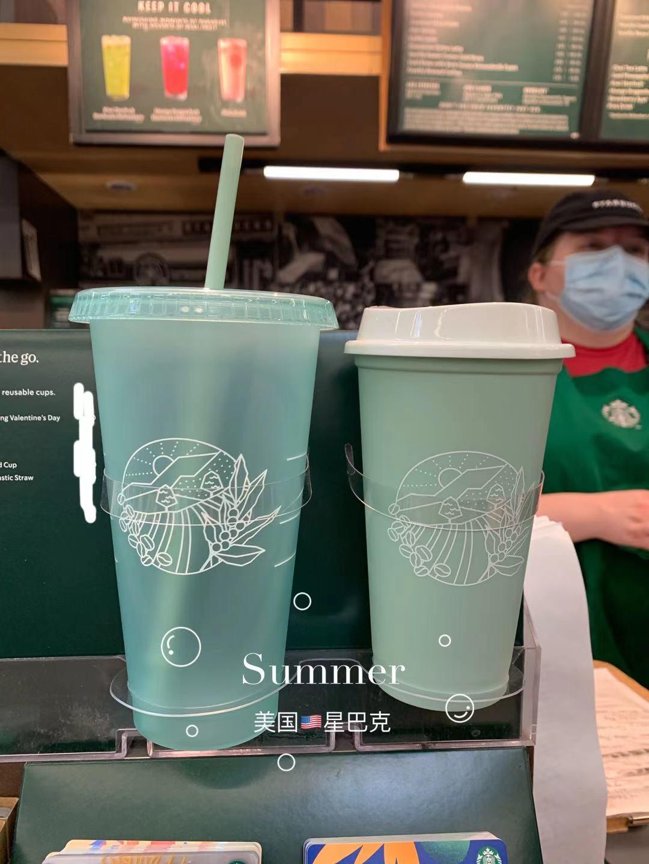 21年美國starbucks星巴克50週年薄荷綠循環使用吸管杯冷水杯熱水