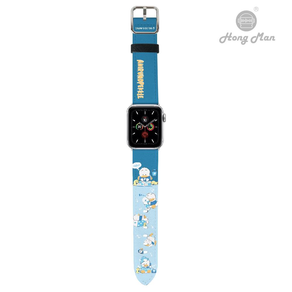 【Sanrio三麗鷗】正版授權 貝克鴨 Apple Watch 皮革錶帶 38/42/40/44 康文 玫瑰金 太空灰