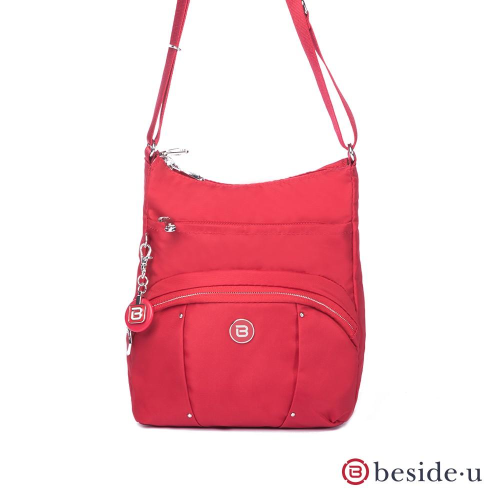 beside u BLL 防盜刷金屬裝飾直立式格層斜肩包側背包 – 紅色 官方直營