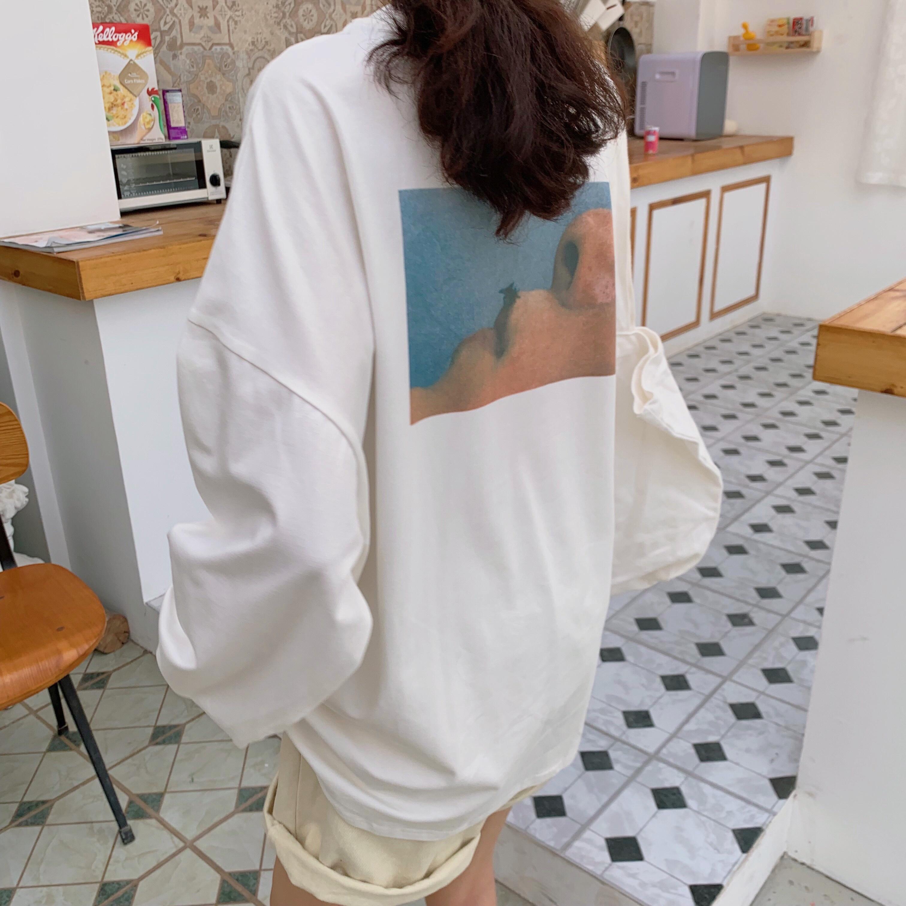 大學T 簡約字母寬鬆顯瘦大學T 百搭長袖T恤女上衣百搭韓版