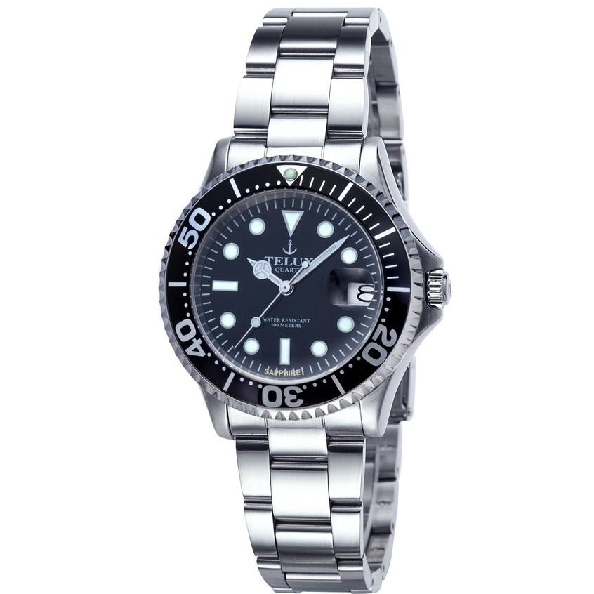 台灣品牌手錶腕錶【TELUX鐵力士】怒海征服者潛水腕錶40mm水鬼台灣製造石英錶出清品250113BK-BK11